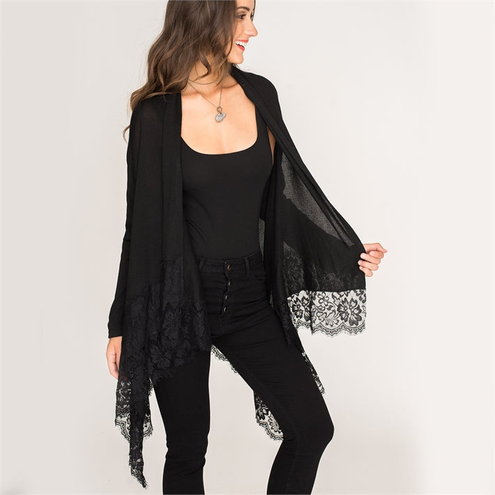 Black Sweater Wrap with Lace Trim