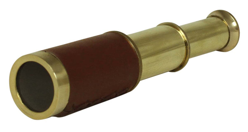"6"" Brass Telescope & Brown Leather"