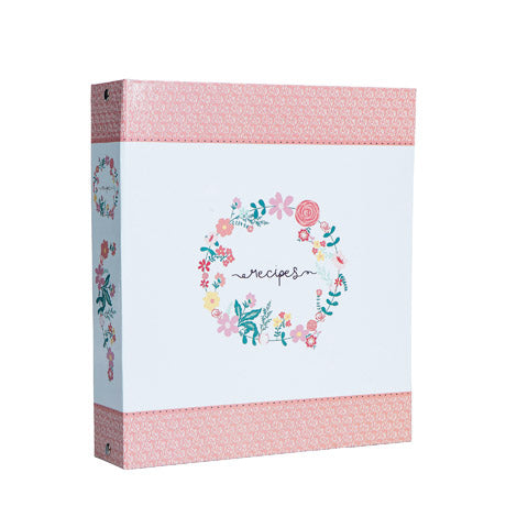 My Family Recipes Recipe Card Binder Set - Peach Floral