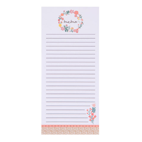 My Family Recipes Magnetic Notepad - Peach Floral