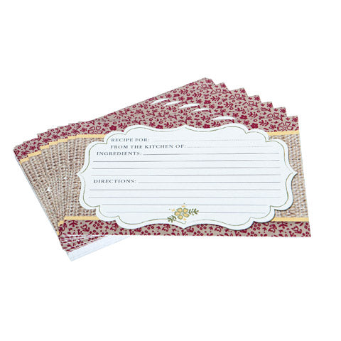 My Family Recipes Blank Recipe Cards - Vintage Red