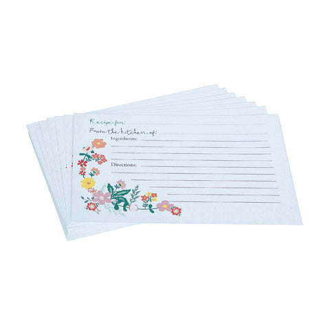 My Family Recipes Blank Recipe Cards - Peach Floral Print