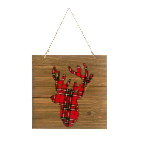Red Plaid Wood Hanging Reindeer Decoration