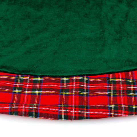Green Velvet Tree Skirt with Plaid Trim