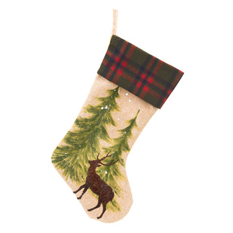 Deer Stocking with Trees and Plaid Cuff