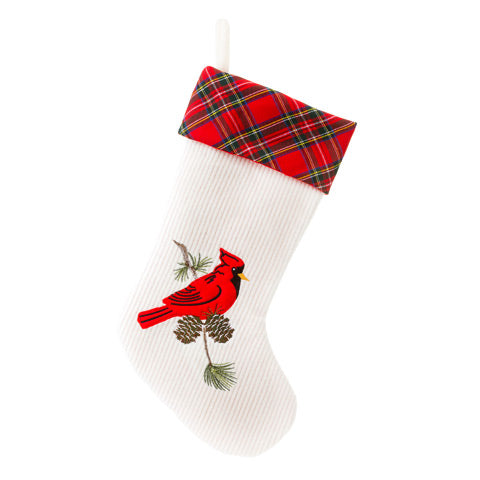 Cardinal Stocking with Plaid Cuff