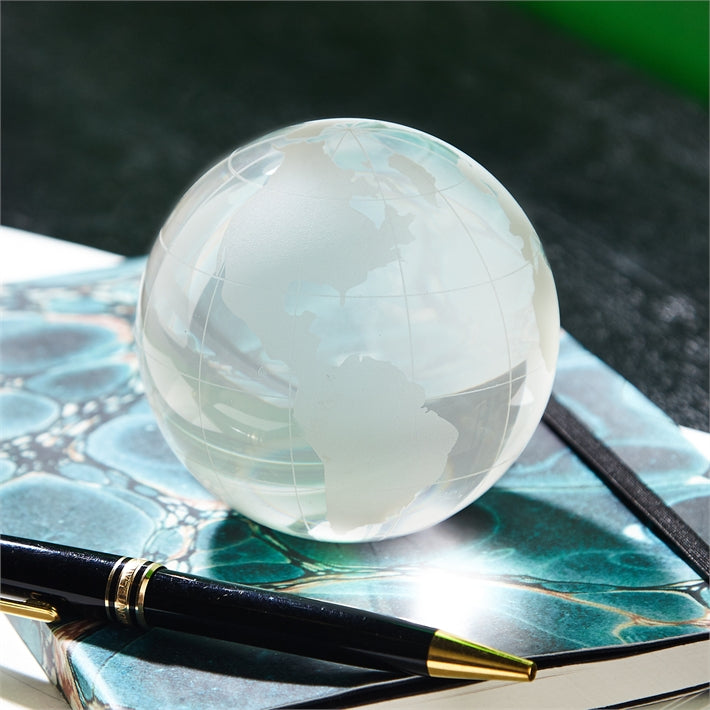 World View Etched Globe Paperweight