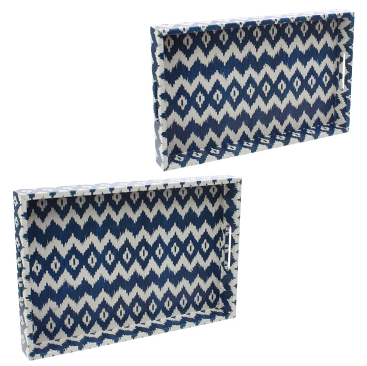 Blue and White Chevron Tray