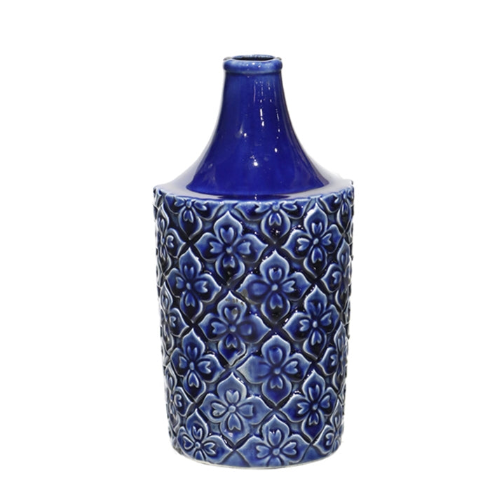 "12"" Blue Patterned Vase"