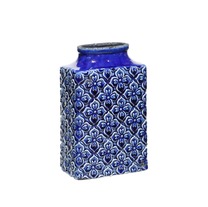 "11"" Blue Patterned Vase"