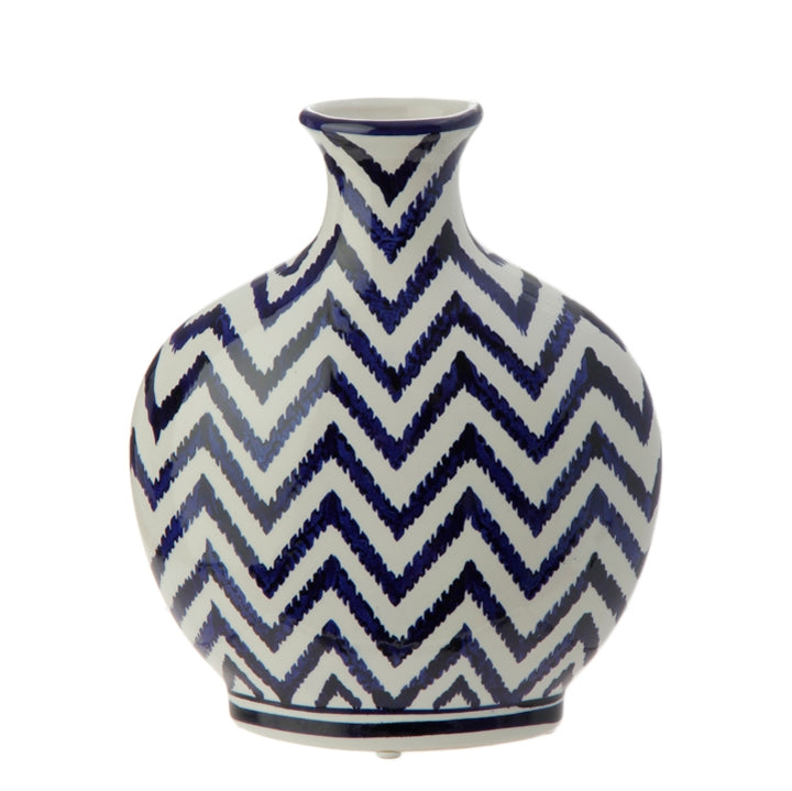 "10"" Blue and White Chevron Vase"