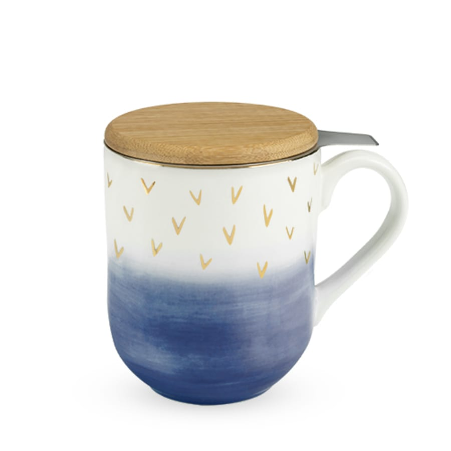 Blue Ceramic Tea Mug & Infuser