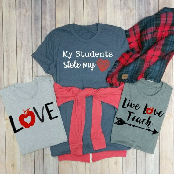 Red Apple Love Graphic Tee - Athletic Sport Grey
