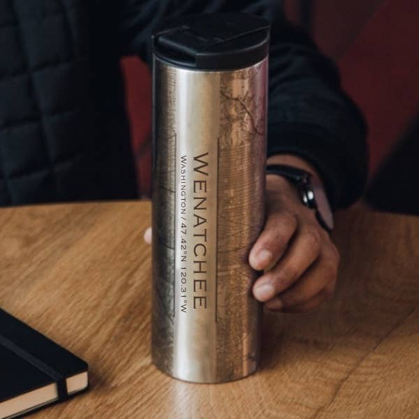 Wenatchee Map Tumbler - Silver
