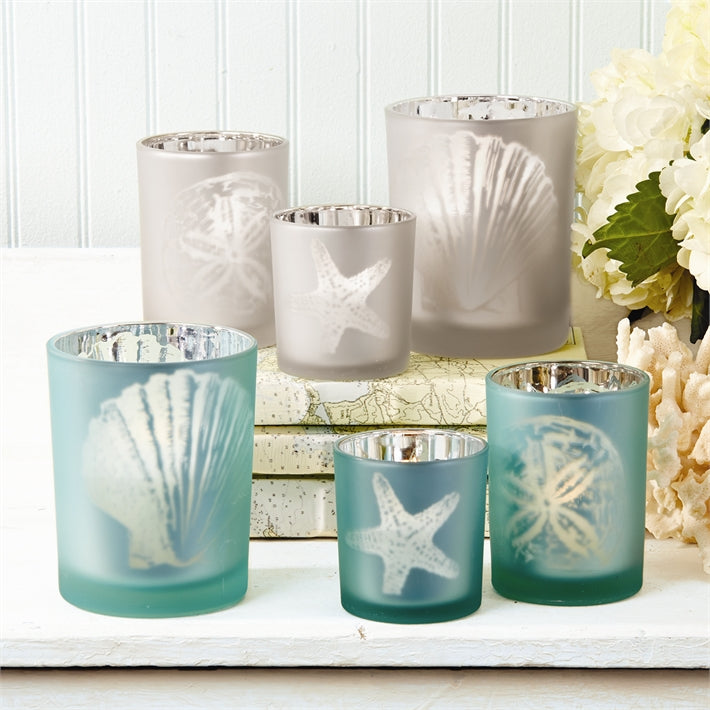 Watercolors Sealife Silhouette Frosted Tealight Candleholder
