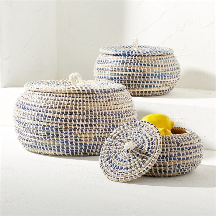 Lidded Round Seagrass Bowls