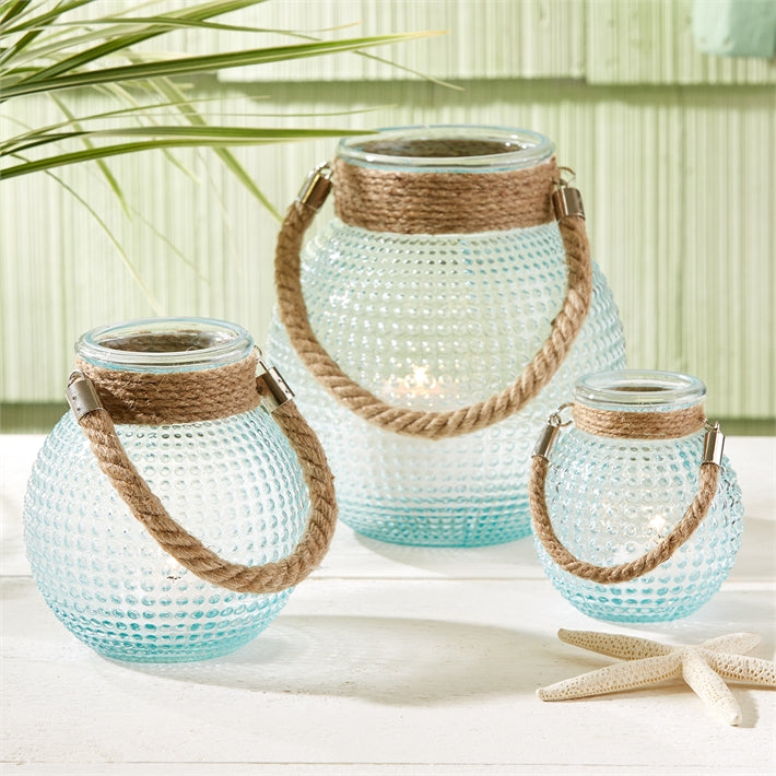 Harborside Hobnail Lantern with Rope Handles