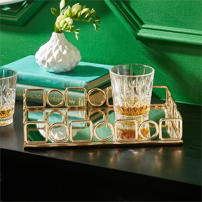 Mirrored Gold Trim Tray