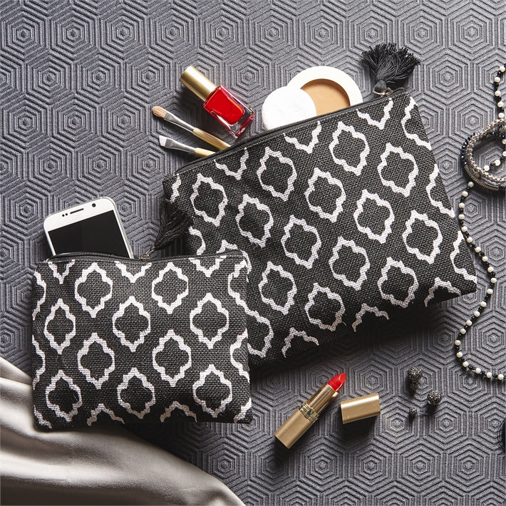 Contrast Black and White Jute Pouches (Set of 2) with Tassel
