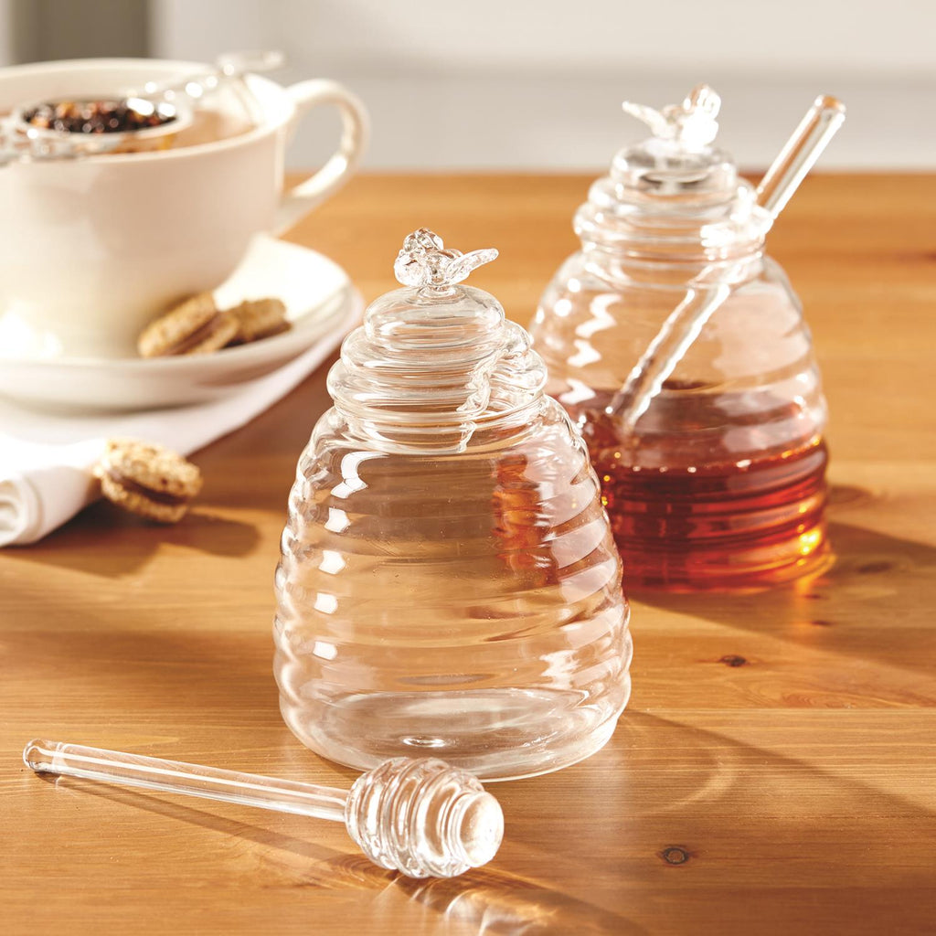 Honey Pot with Lid and Dipping Stick - Glass