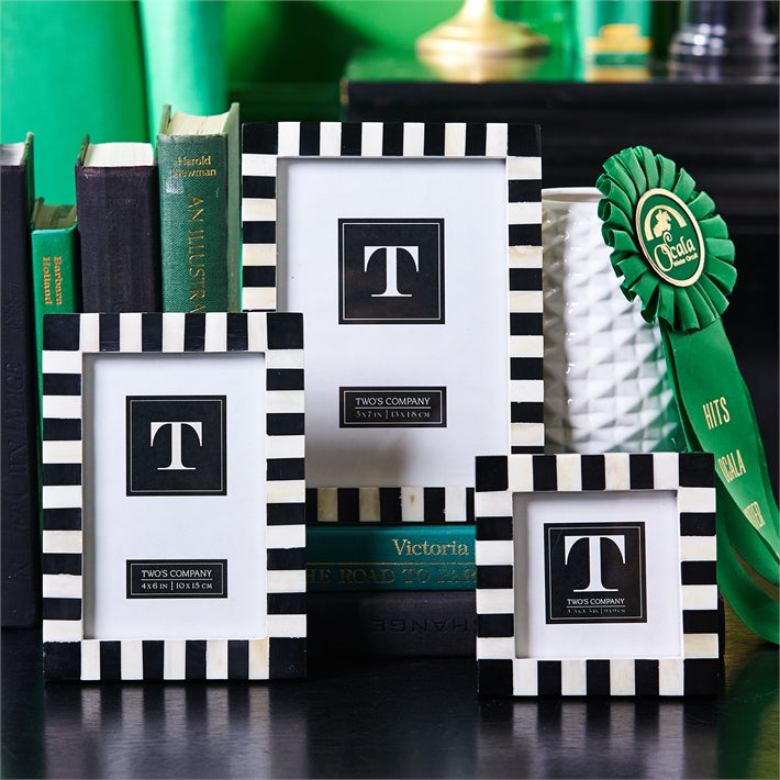 Domino Striped Black and White Photo Frame
