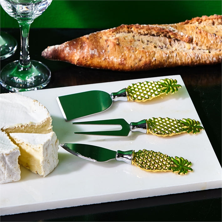 Golden Pineapple Cheese Knives in Gift Box (Set of 3)