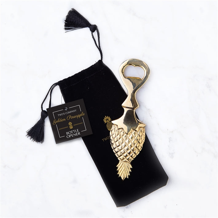 Golden Pineapple Bottle Opening with Black Gift Pouch