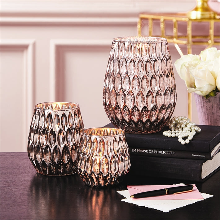 Pink Mercury Glass Candle Holder