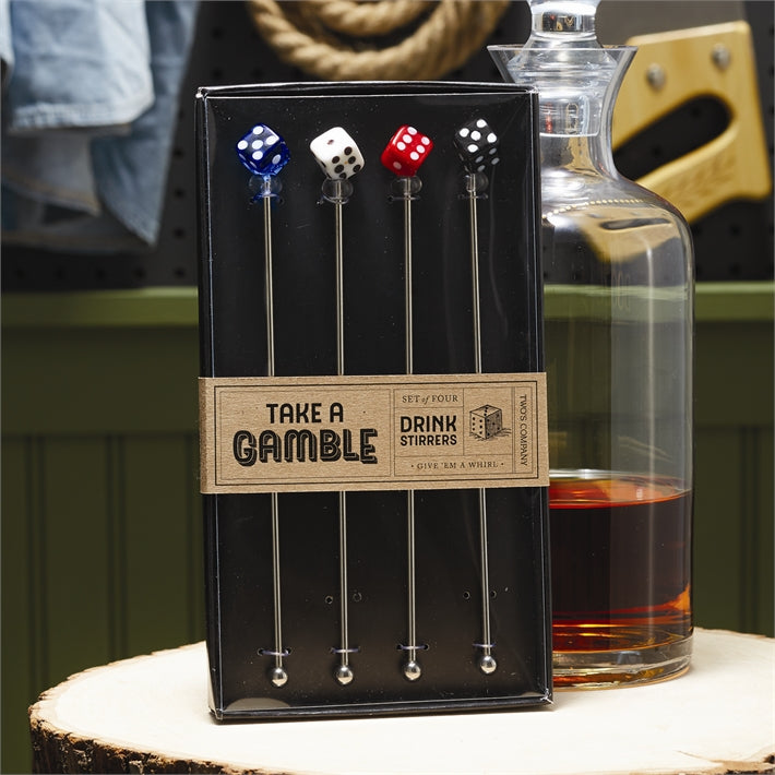 Take A Gamble (Set of 4) Drink Stirrers in Gift Box