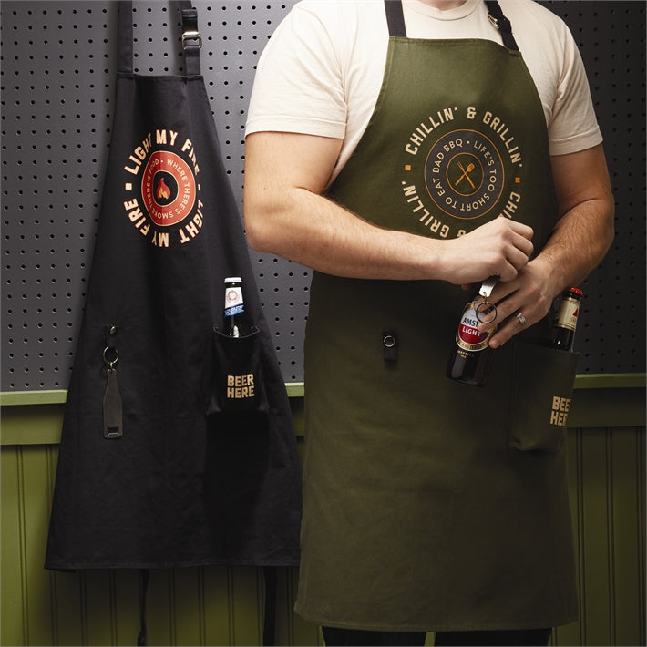 Cue & Brew Apron with Bottle Opener and Beer Pocket