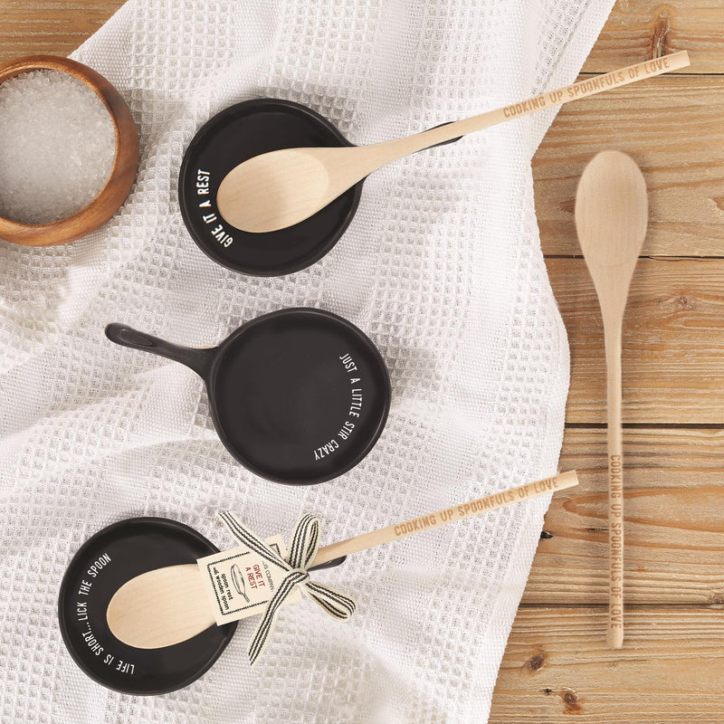 Porcelain Spoon Rest with Wooden Spoon