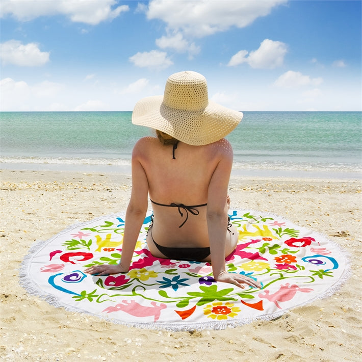 Otomi Round Beach Towel/Throw Blanket