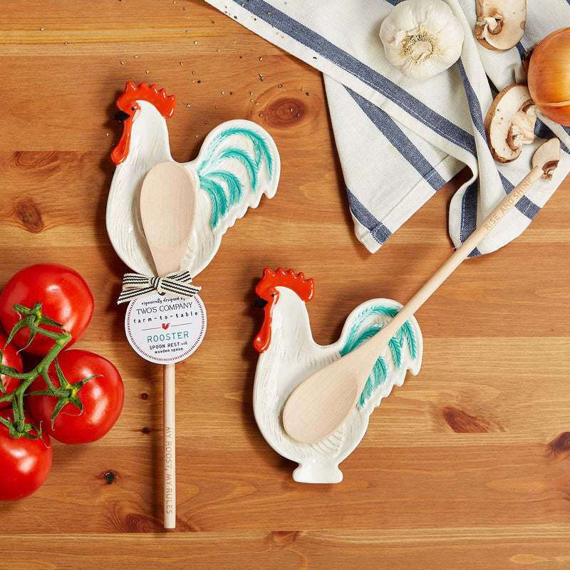 Rooster Spoon Rest with Wooden Spoon