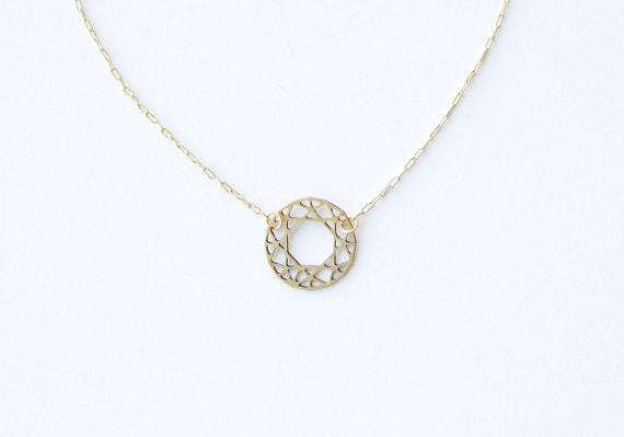 Round Cut Gem Necklace | Brass