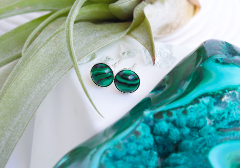 Malachite Stone Earrings | Sterling Silver