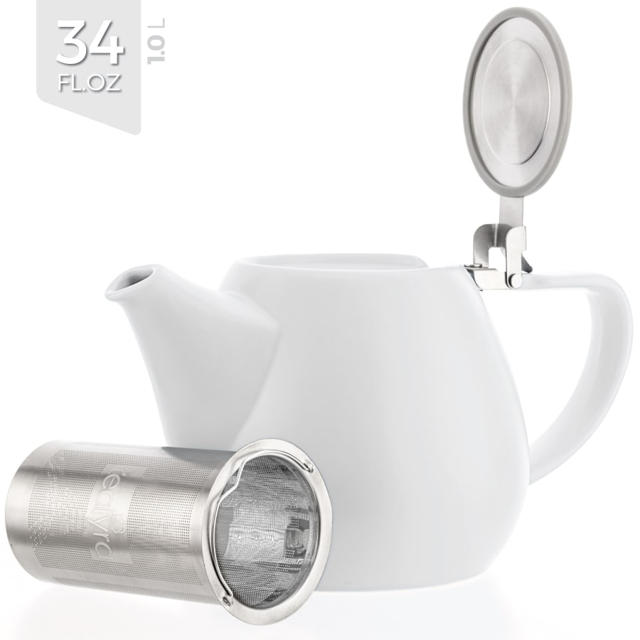 White Porcelain Teapot with Infuser (34 oz.)