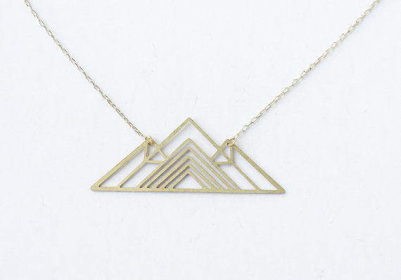 Geometric Mountain Necklace | Brass