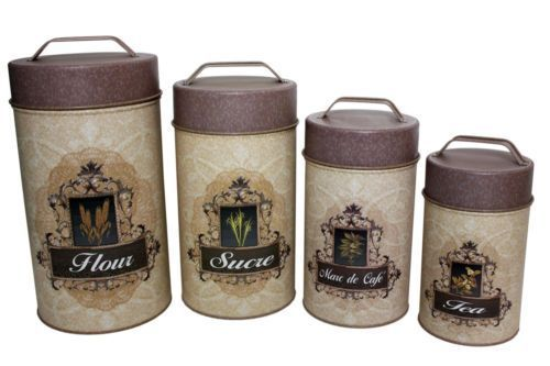French & English Canisters (Set of 4) (food safe)