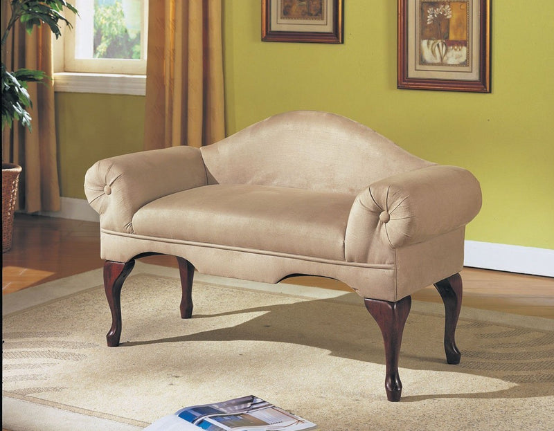 Beige Microfiber Rolled Arm Bench