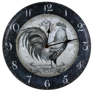 Black and White Rooster Clock