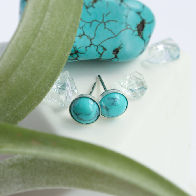 Turquoise Stone Earrings | Sterling Silver