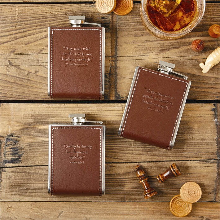 6 oz. Leather Flask With Quotation