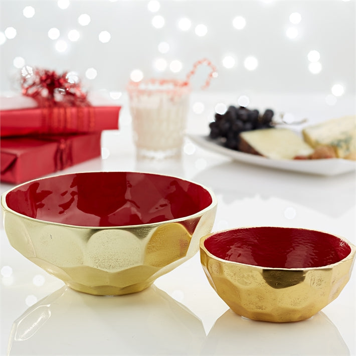 Golden Hex Bowl with Red Enamel (food safe)