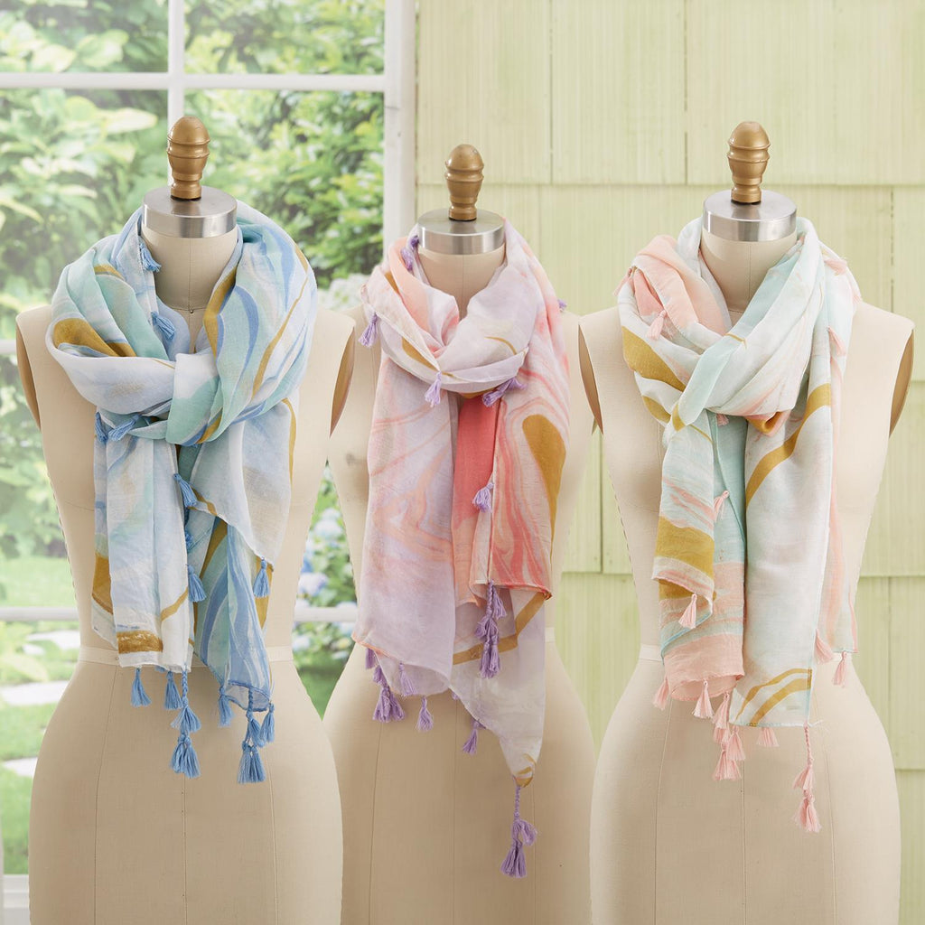 Marble Wash Pattern Scarf with Tassels in Gift Box