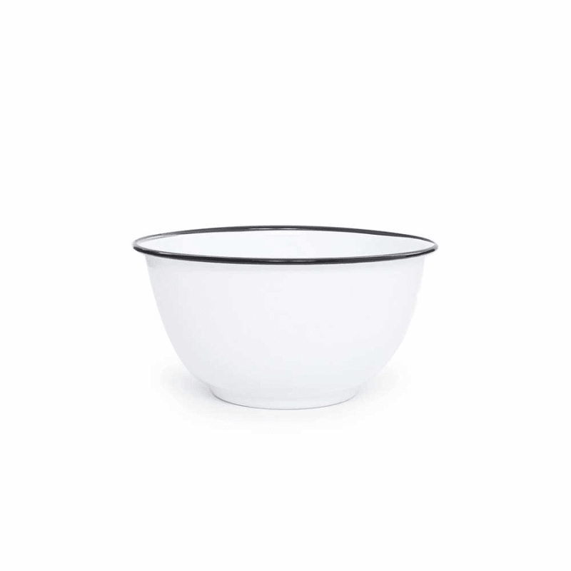 Large Salad Bowl (4 qt) - White Black Trim Enamelware