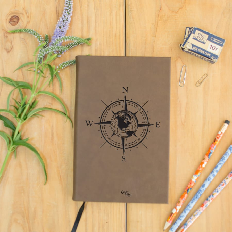 Compass Rose & Globe Leather Journal (Rawhide)