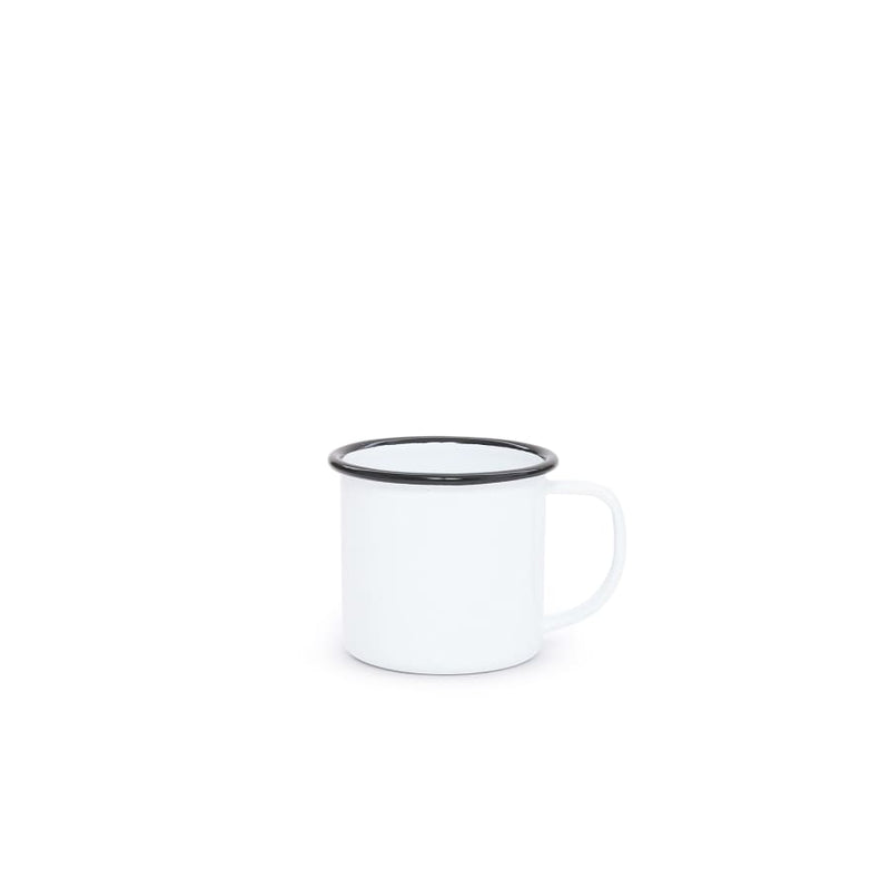 Small Mug (8 oz.) - White Black Trim Enamelware