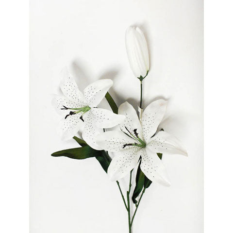 "25"" White Satin Tiger Lily"