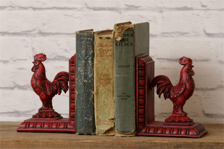 Red Rooster Bookends (Set of 2)