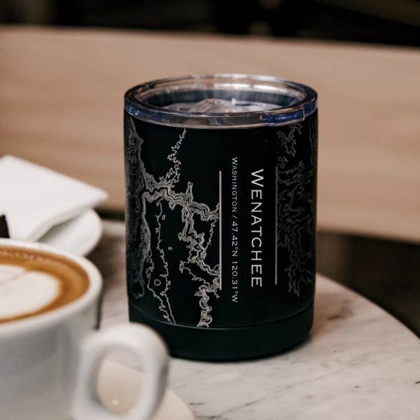 Wenatchee Map Insulated Cup in Matte Black